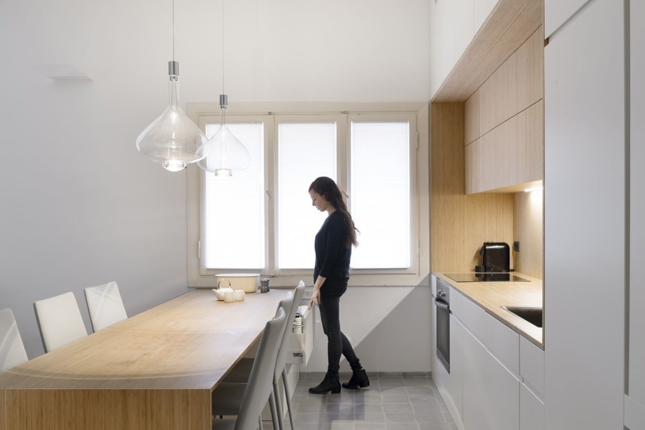 A large window means you never want for countertop, furniture, house, interior design, kitchen, product design, room, gray