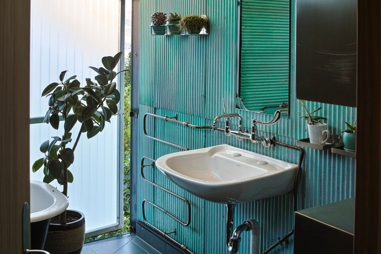 Pippin Wright-Stow of F3 Design for Lyttelton Landing bathroom, home, interior design, plumbing fixture, property, room, toilet, black, teal