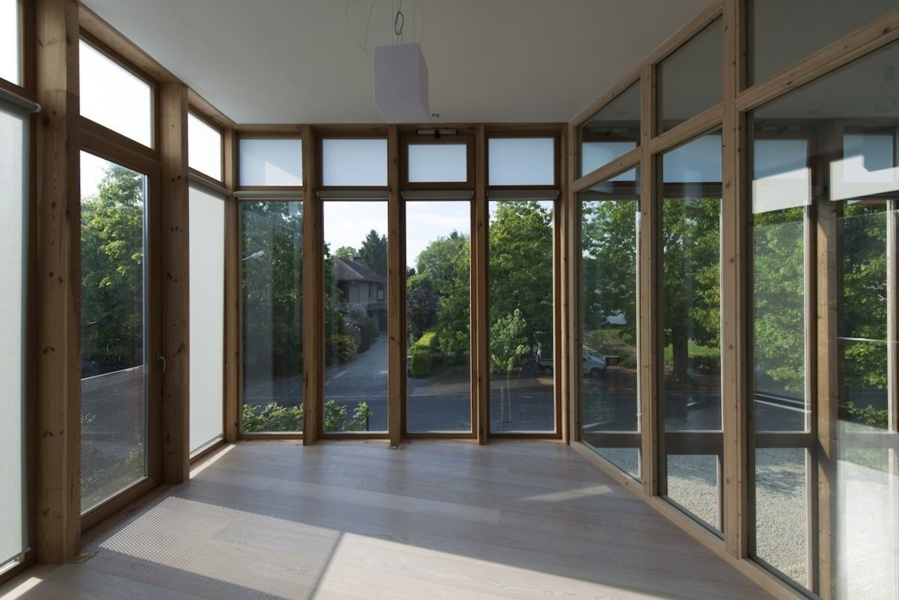 The windows frame the garden architecture, daylighting, door, house, porch, property, real estate, window, gray, black