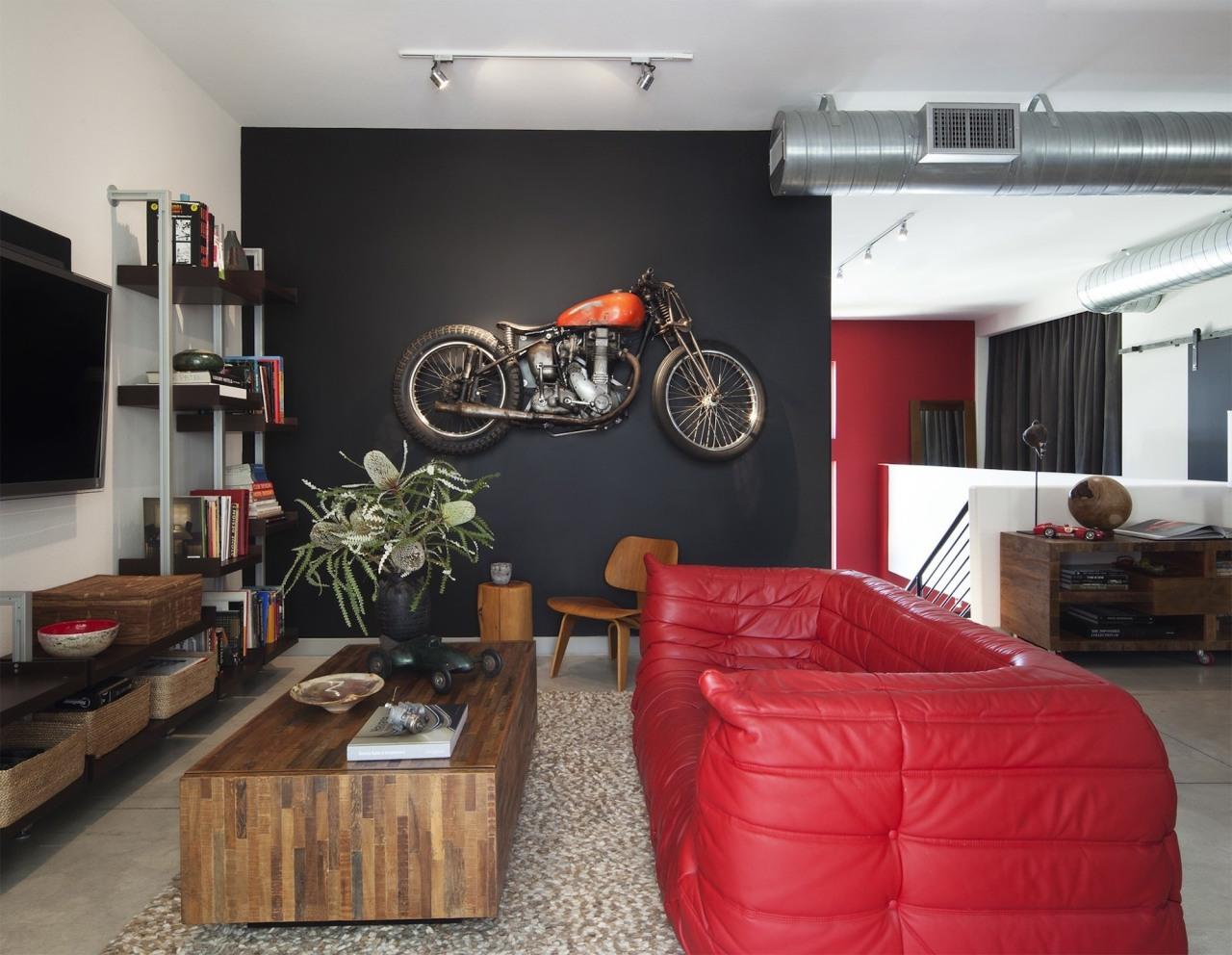 Loft Living Bike - Tim Street Porter - home, interior design, living room, room, table, black, gray
