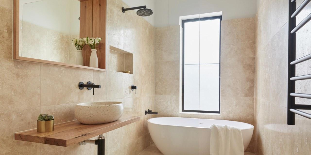 Never underestimate the importance of windows and natural bathroom, bathroom accessory, floor, flooring, home, interior design, plumbing fixture, room, sink, tap, tile, wall, window, gray