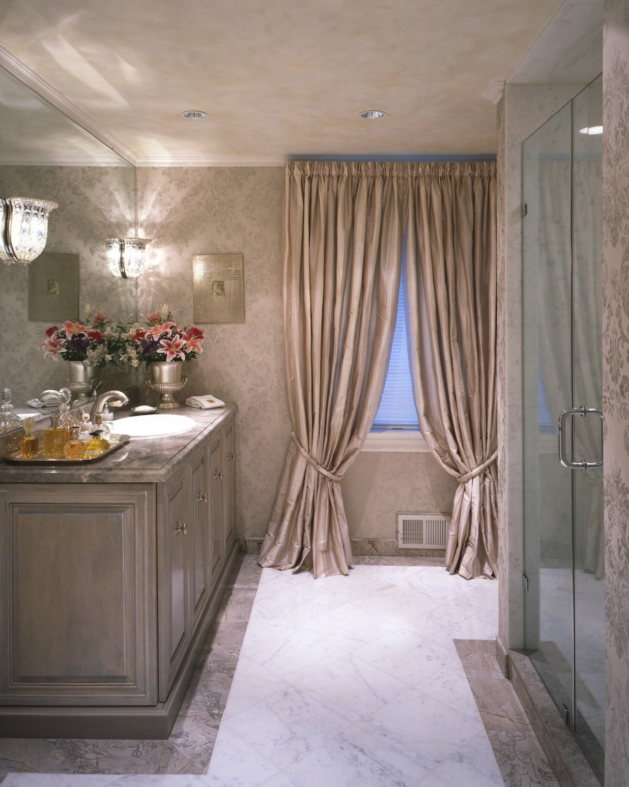 Elegant fittings line this bathroom bathroom, ceiling, curtain, floor, flooring, home, interior design, room, textile, wall, window, window covering, window treatment, gray