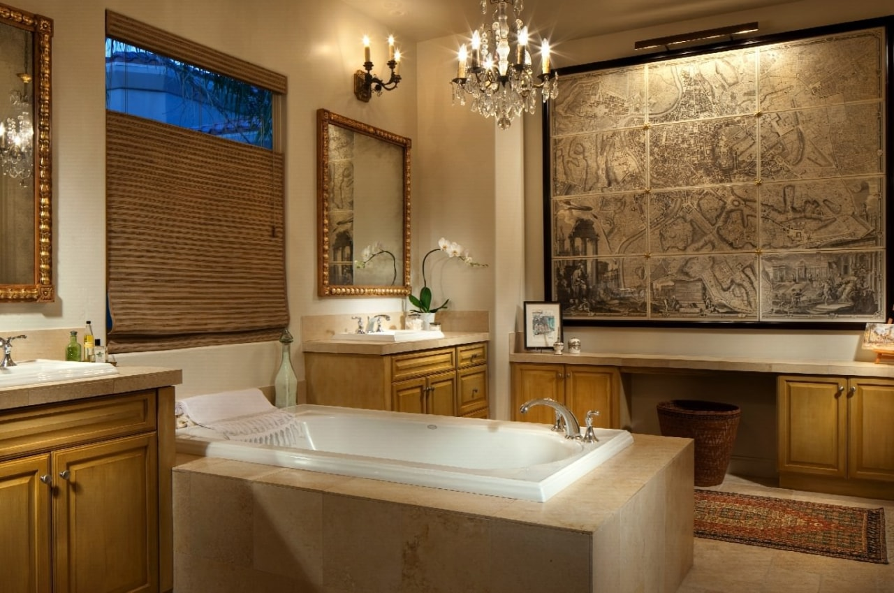 The master ensuite is something else, featuring an bathroom, estate, home, interior design, room, window, brown