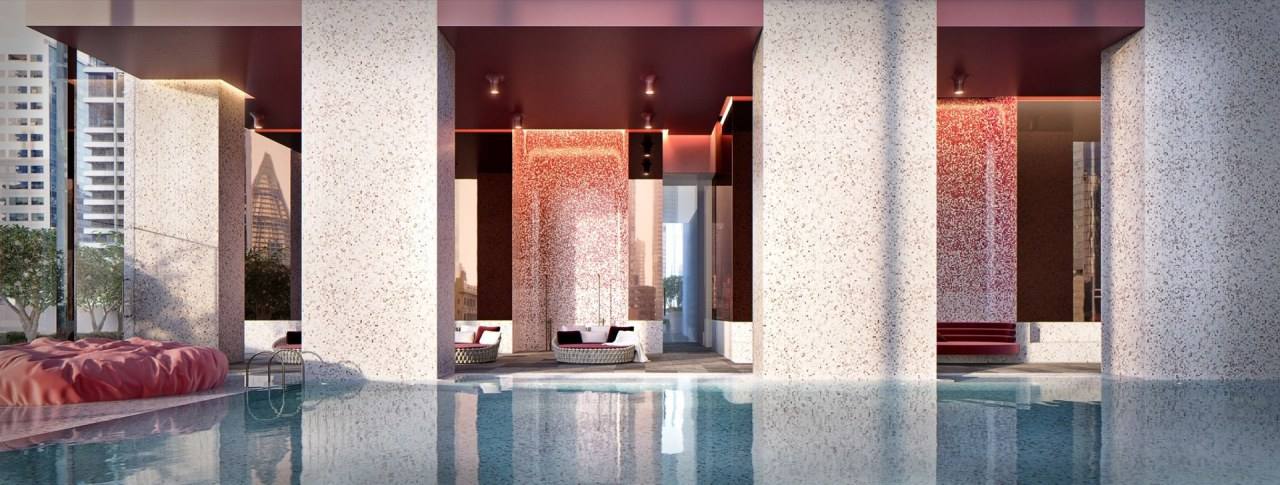 A view of the pool and accompanying areas interior design, lobby, structure, gray, white