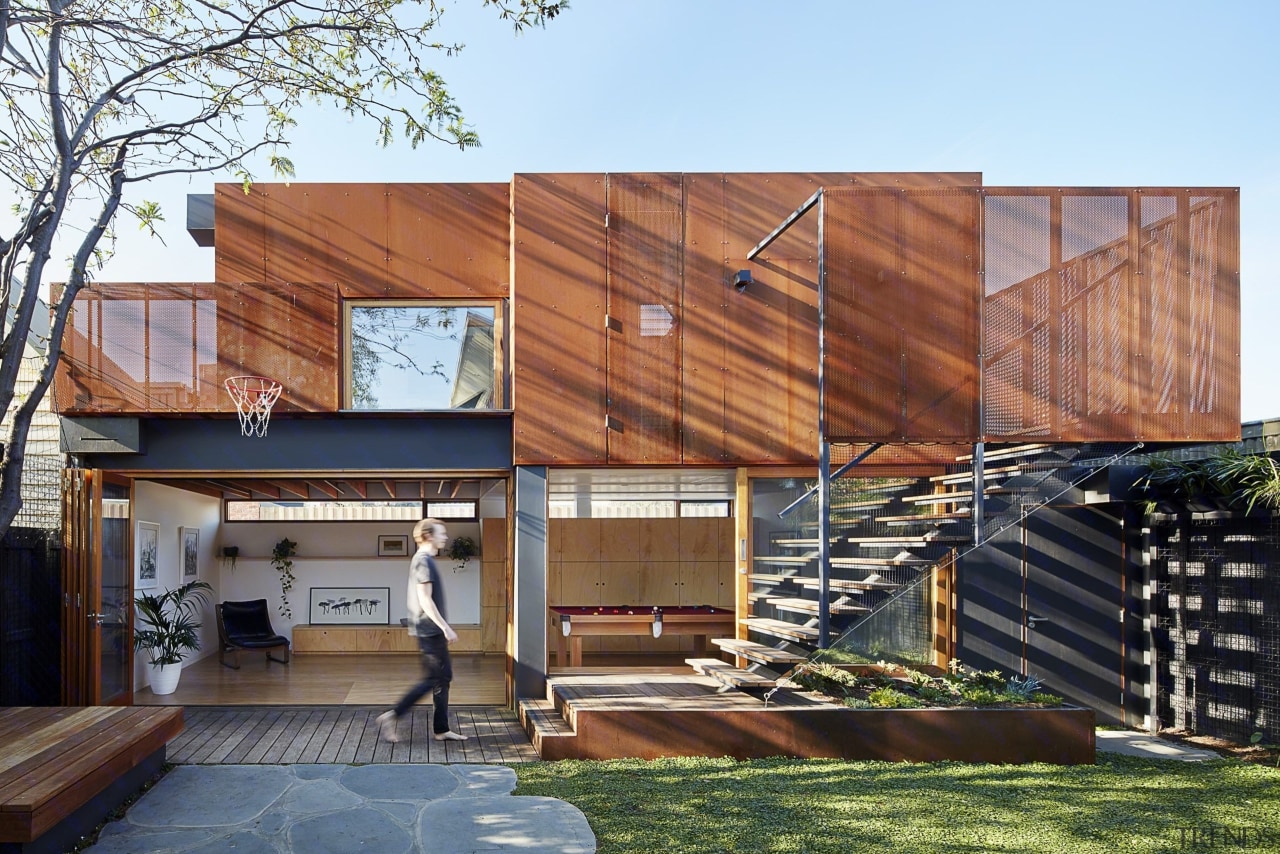 The materials used for this home are robust; architecture, building, facade, home, house, real estate, residential area, siding, wood, brown, white