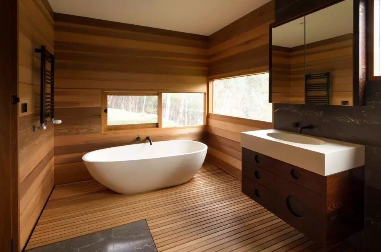 When creating a sustainable bathroom, try upcycling materials bathroom, floor, flooring, hardwood, interior design, room, wood, wood flooring, brown