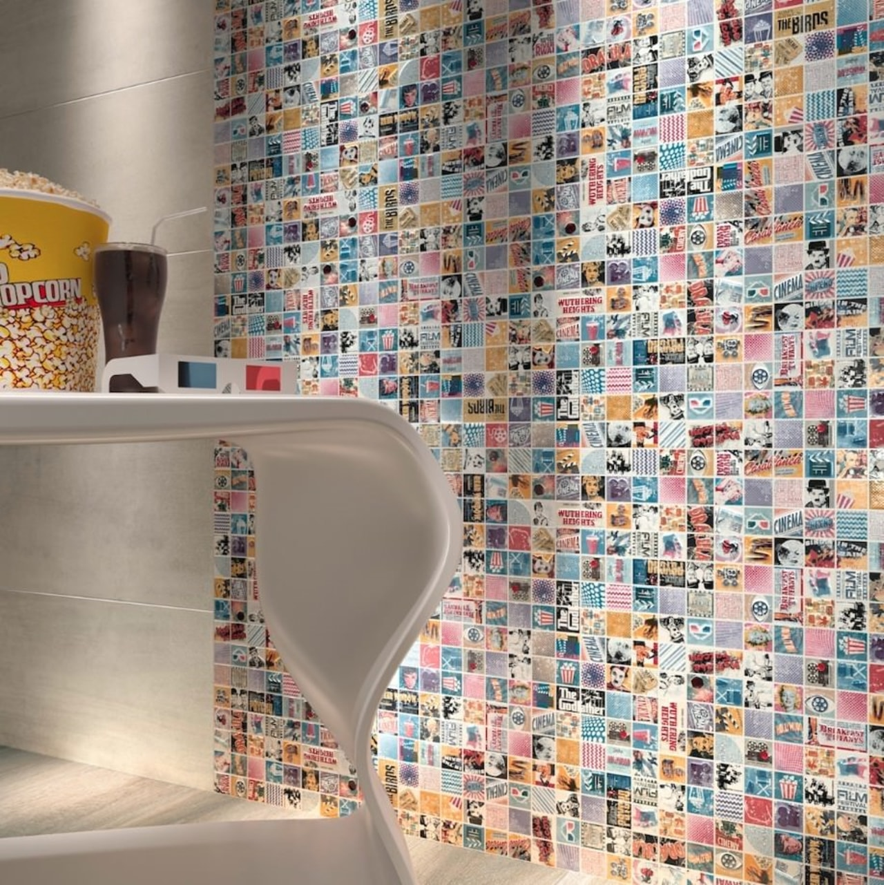 Mosaic tiles can be used in any part floor, flooring, tile, wall, gray