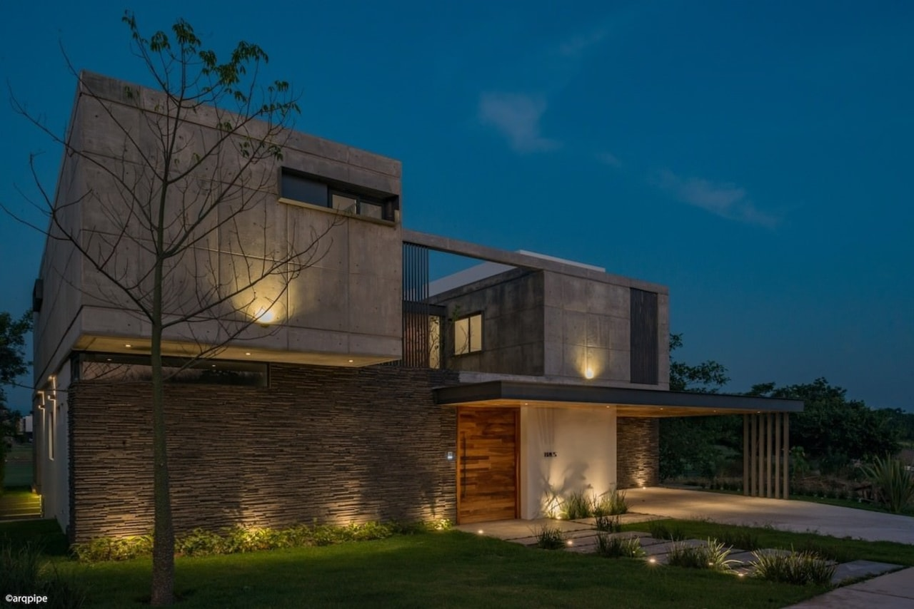 Colima home/Di Frenna Arquitectos architecture, building, corporate headquarters, elevation, estate, facade, home, house, lighting, property, real estate, residential area, sky, blue, black