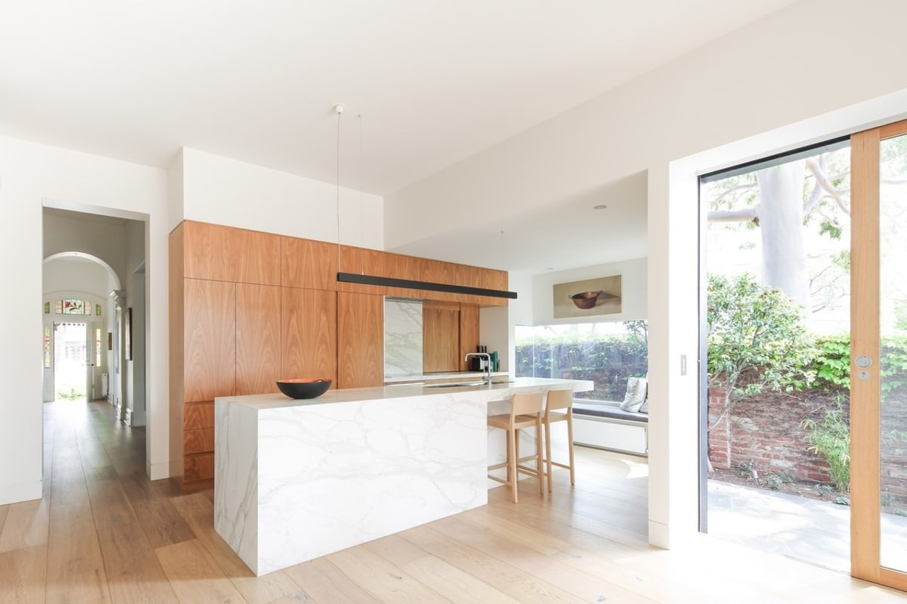 Easy access from the kitchen to the garden architecture, floor, flooring, hardwood, house, interior design, kitchen, property, real estate, wood flooring, white