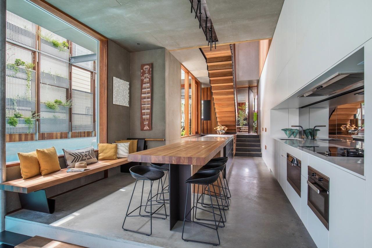 CplusC Architectural Workshop architecture, house, interior design, living room, loft, real estate, gray