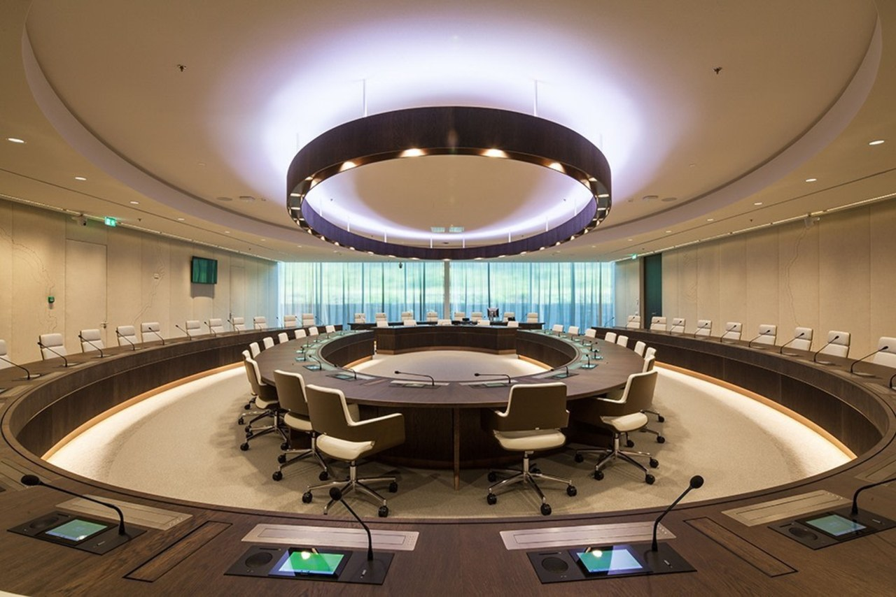 Eurojust auditorium, ceiling, conference hall, interior design, brown