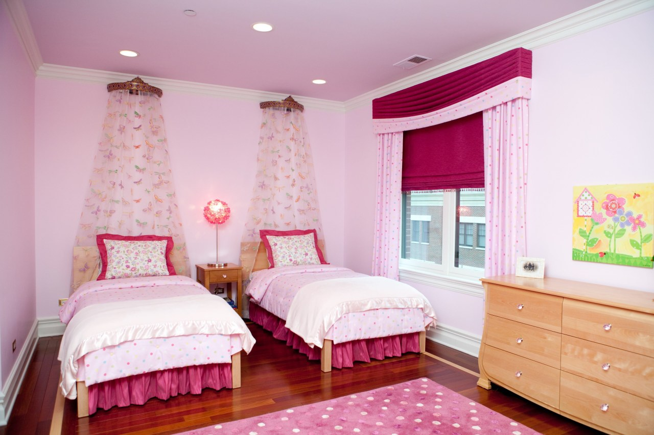 Sometimes sticking to one color palette can create bed, bed frame, bed sheet, bedding, bedroom, ceiling, curtain, home, interior design, pink, product, property, real estate, room, suite, textile, wall, window covering, window treatment, pink