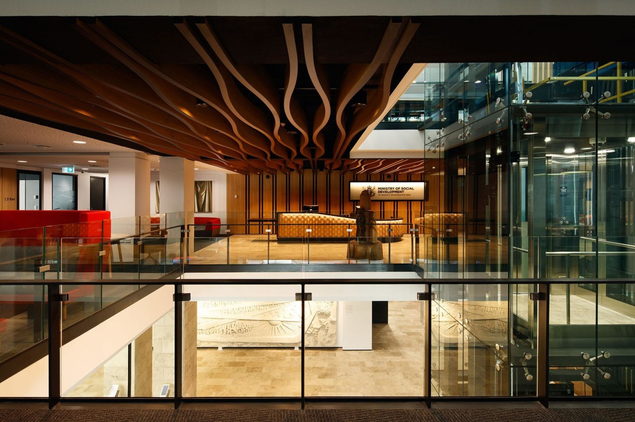 Ministry of Social Development Fit-out – Studio Pacific architecture, glass, interior design, lobby, black