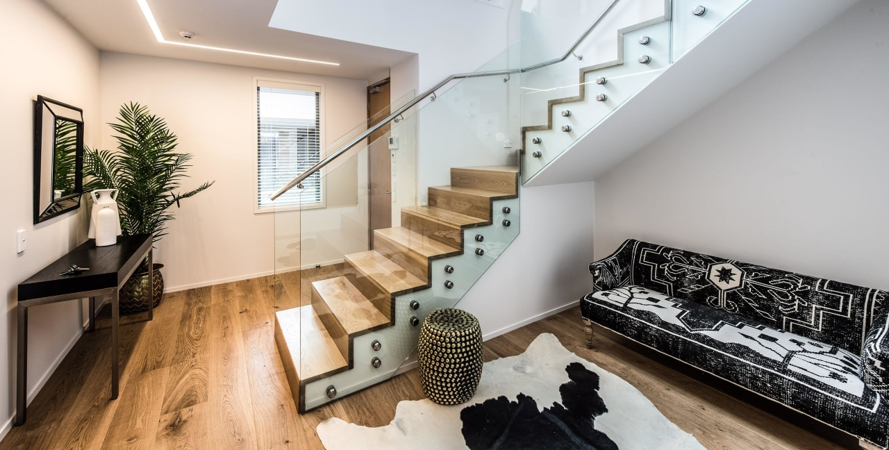 Find out more about 585 Rothesay Bay architecture, handrail, house, interior design, living room, property, real estate, stairs, gray