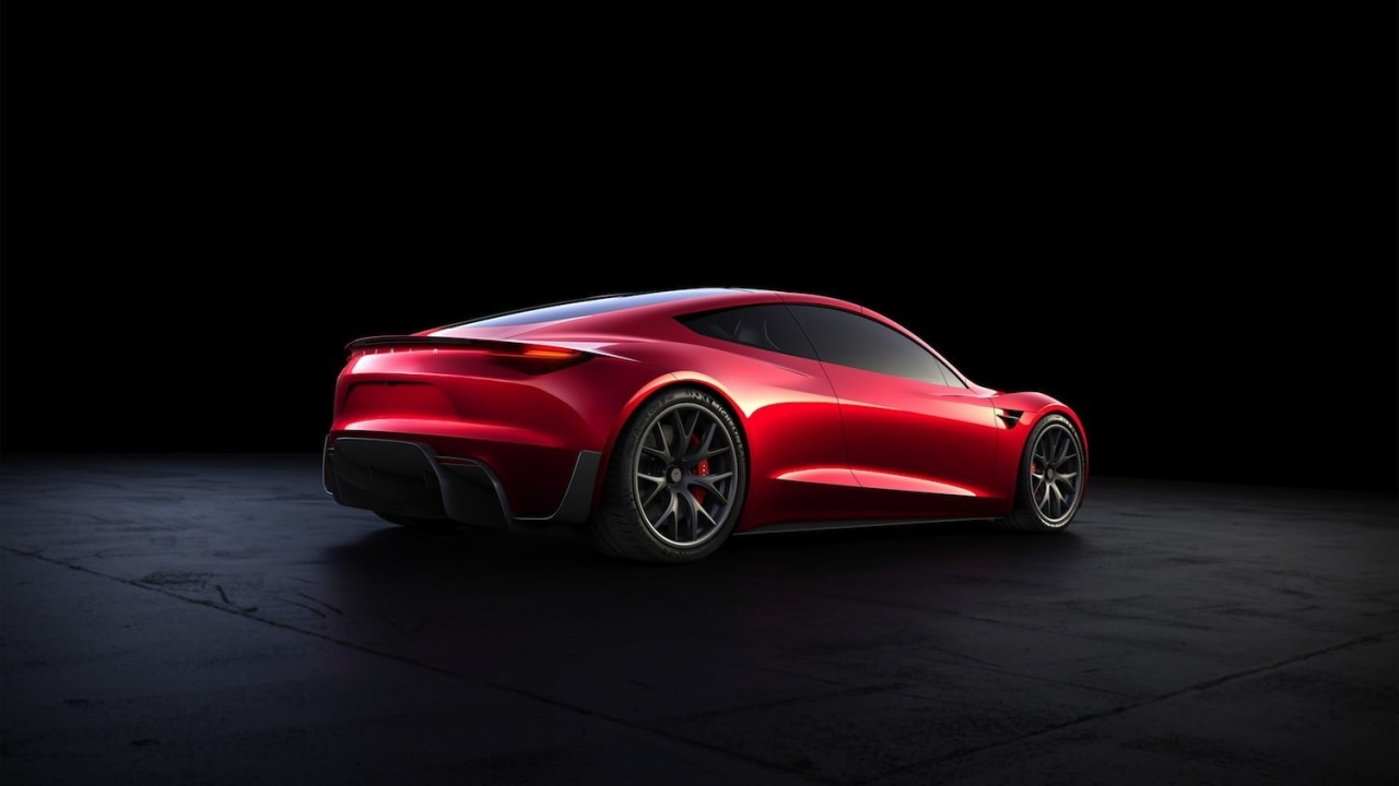 Tesla's new Roadster automotive design, car, city car, computer wallpaper, concept car, family car, luxury vehicle, motor vehicle, performance car, personal luxury car, race car, red, sports car, supercar, vehicle, black