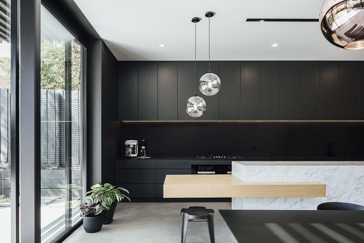 Circles and lines – concealed functionality and a interior design, black, white
