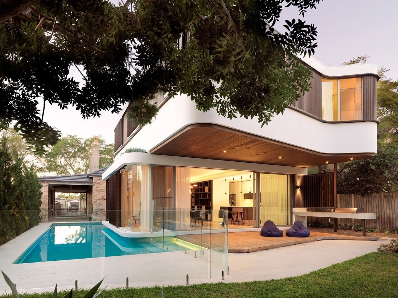 Architect: Luigi RosselliPhotography by Justin Alexander architecture, estate, facade, home, house, property, real estate, residential area, swimming pool, villa, brown, white