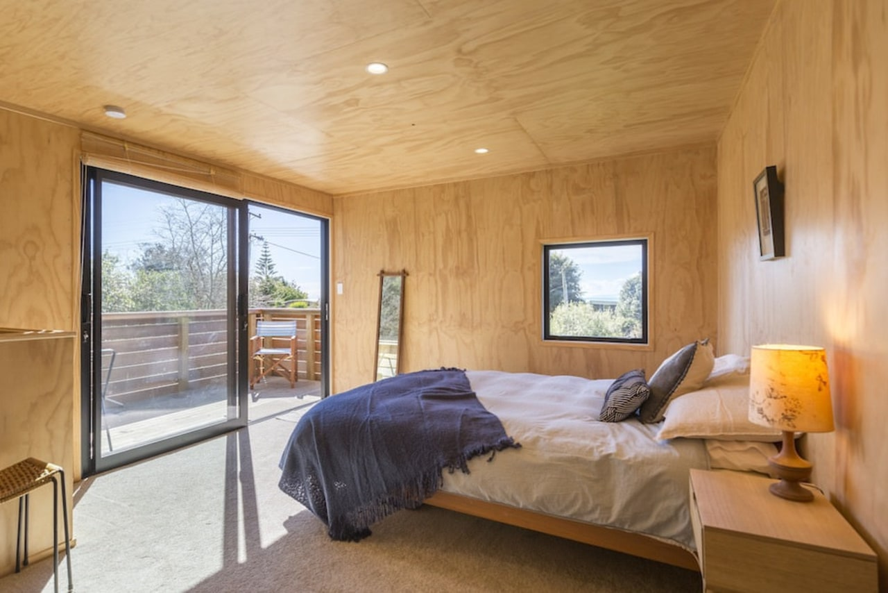 Graham Phipps-Black – Ruby Bay, Nelson house architecture, bedroom, ceiling, daylighting, estate, floor, home, house, interior design, property, real estate, room, window, wood, orange