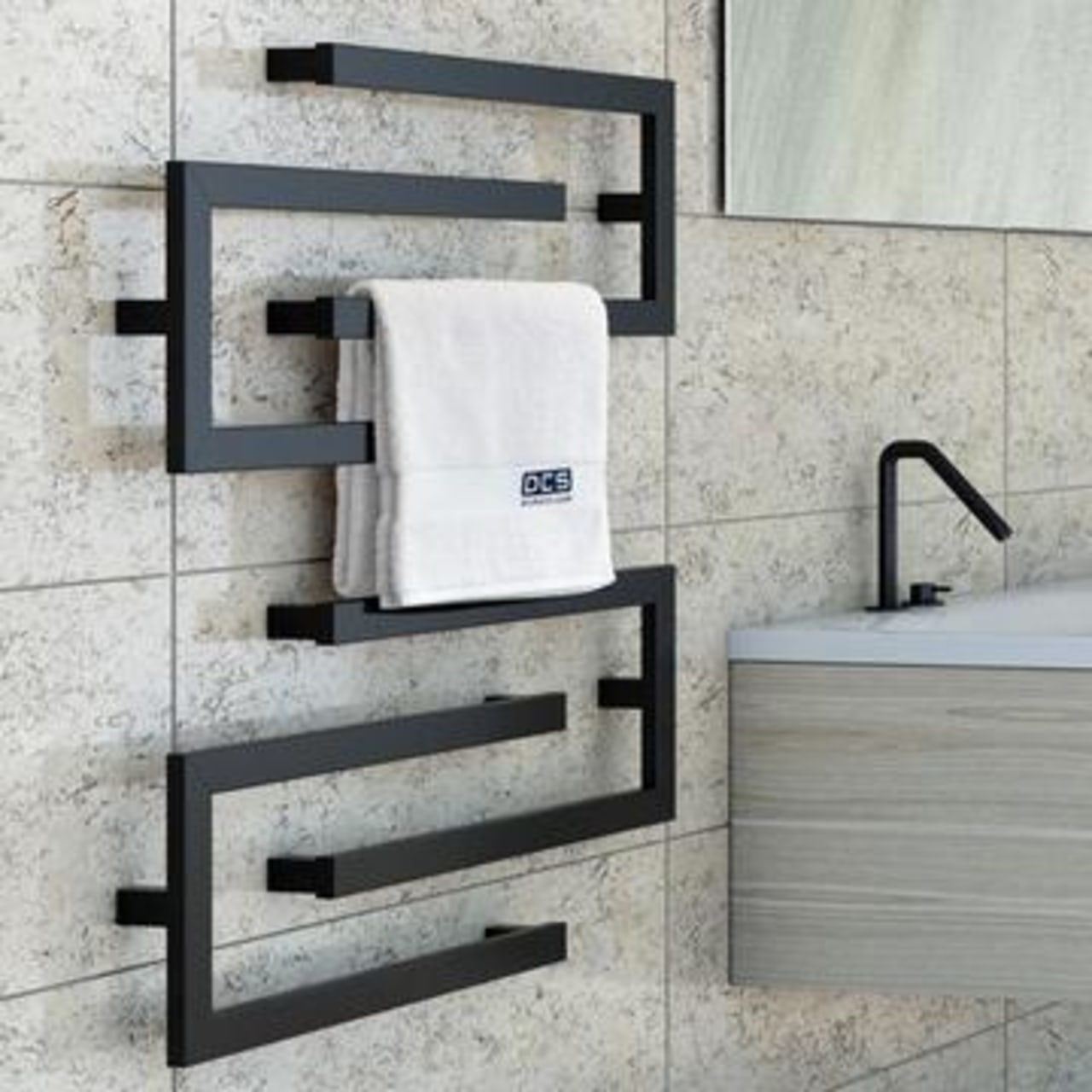 Heated Towel Rail from Elite Bathroomware chair, floor, furniture, plumbing fixture, tap, wall, gray