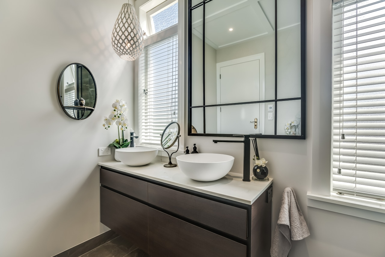 The custom designed vanity aligns with the existing
