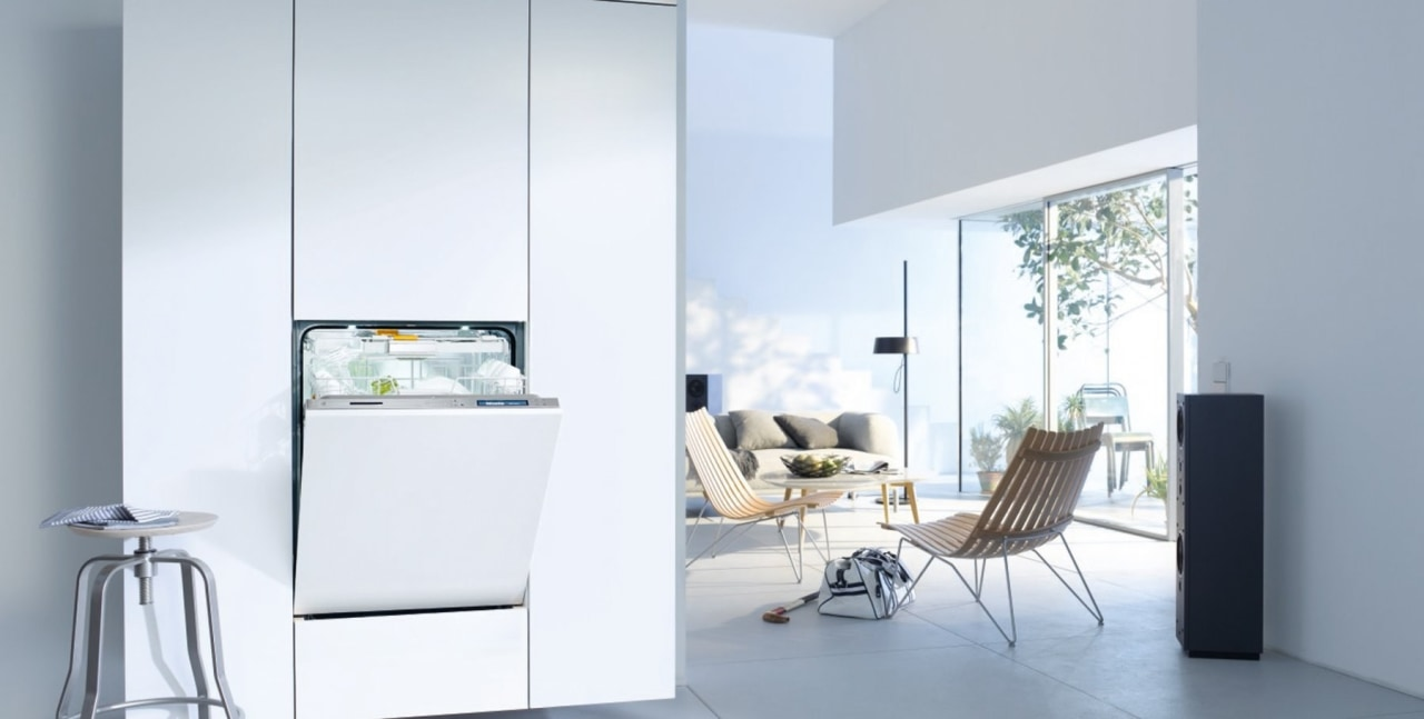 A fully integrated dishwasher from Miele architecture, furniture, home, home appliance, house, interior design, table, window, white