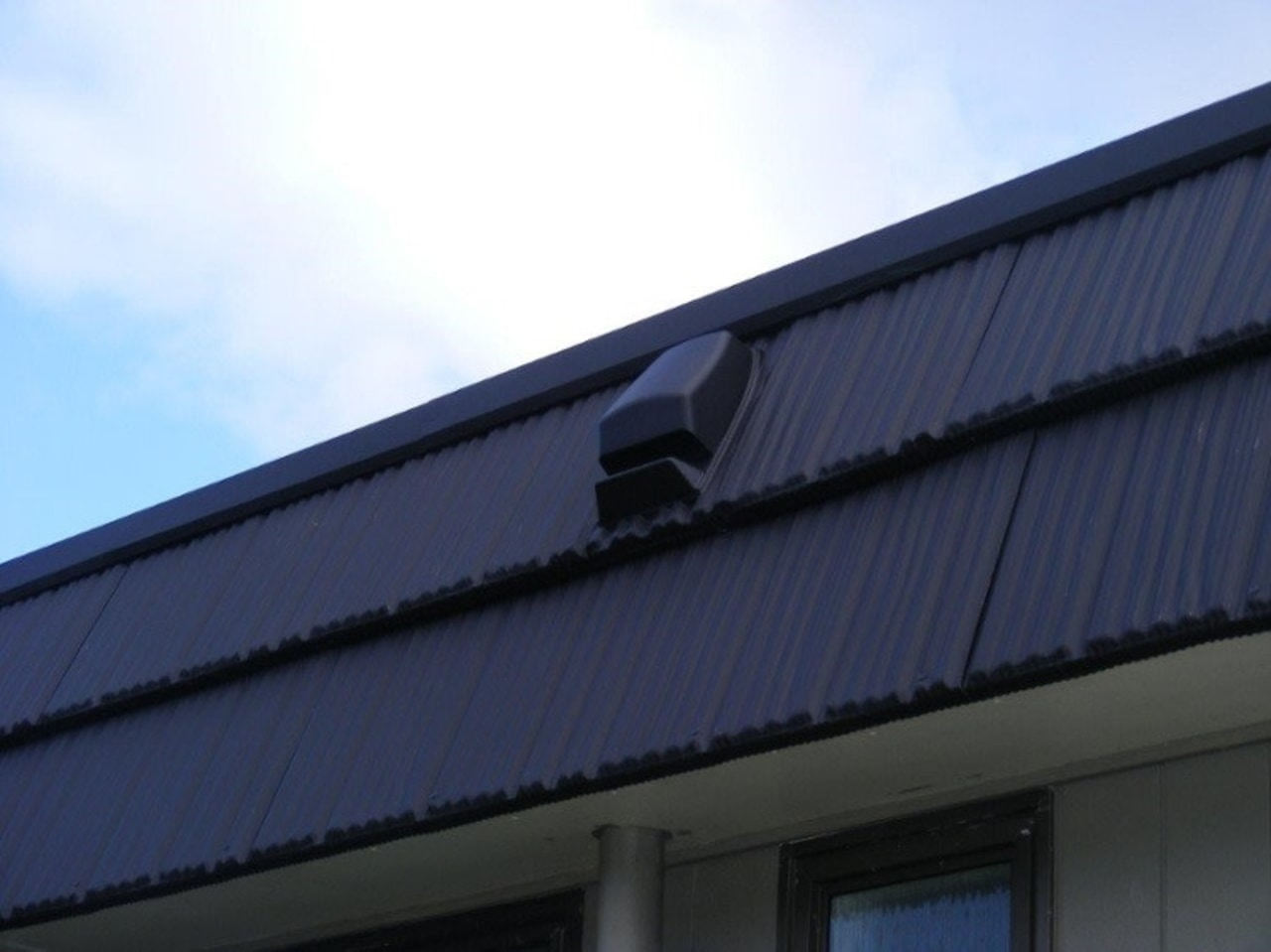 Ventilation is a vital element of any home angle, architecture, building, daylighting, facade, house, line, roof, siding, sky, window, blue, white