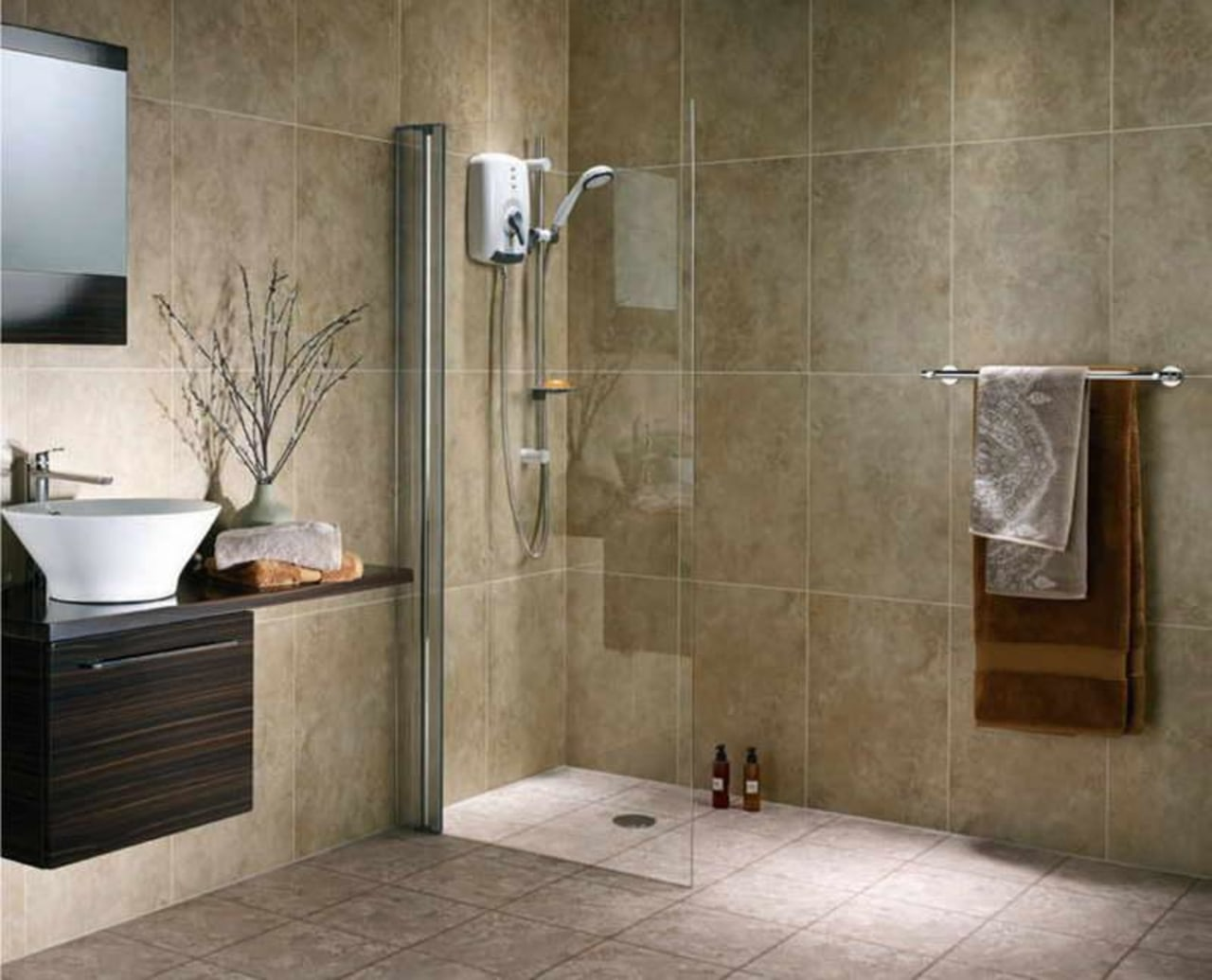 You don't have to have an enclosure – bathroom, floor, flooring, interior design, plumbing fixture, shower, tap, tile, wall, brown, gray