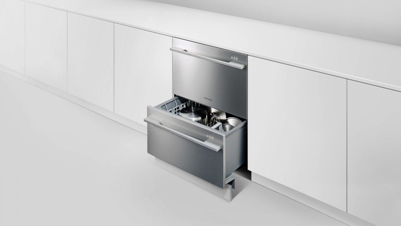 A double drawer dishwasher from Fisher & Paykel drawer, furniture, kitchen, product, white