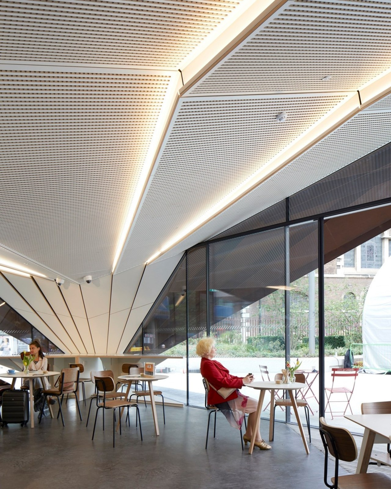 The pavilion houses a community enterprise cafe but architecture, canopy, ceiling, daylighting, interior design, roof, shade, white, gray
