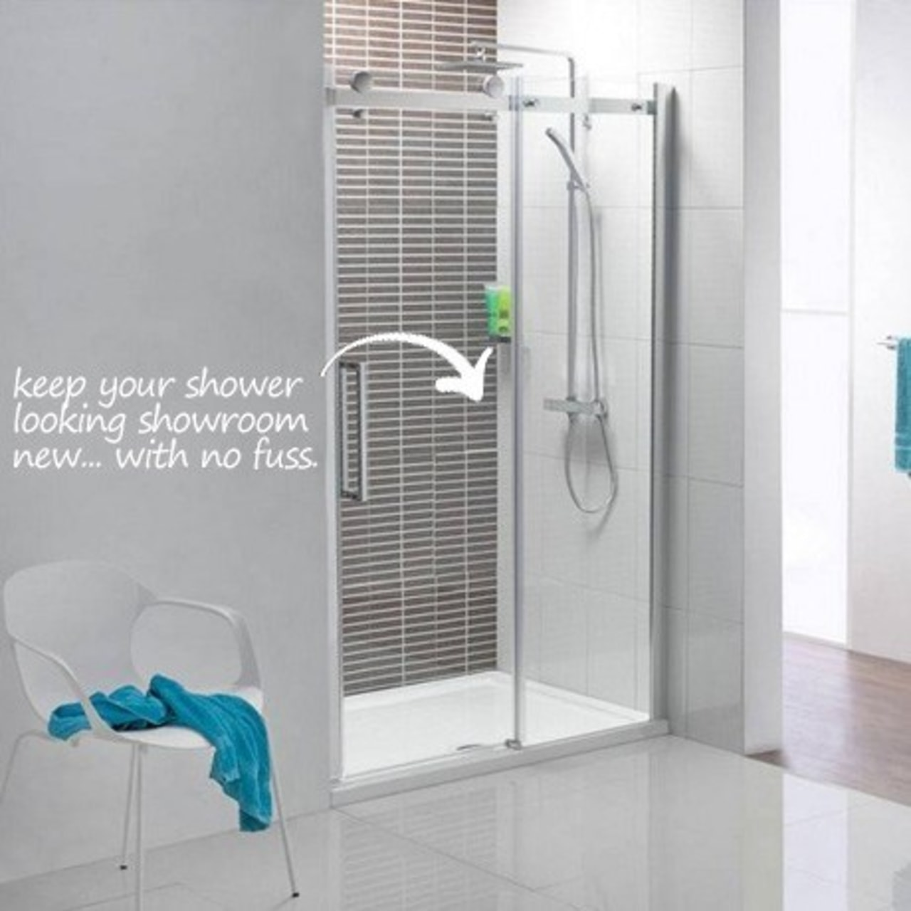Diamond Fusion easyCLEAN glass protection makes your shower angle, bathroom, glass, plumbing fixture, product, shower, gray