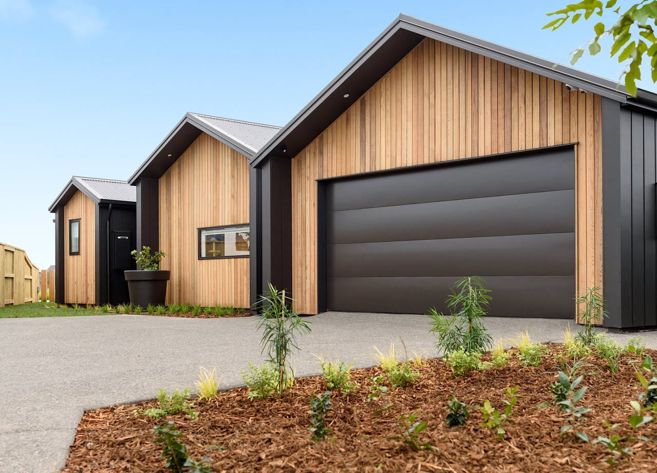 A gabled roofline and strong, simple exterior palette