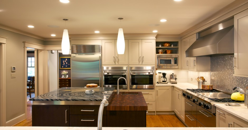 Part of a Craftsman-style makeover, this kitchen combines a…