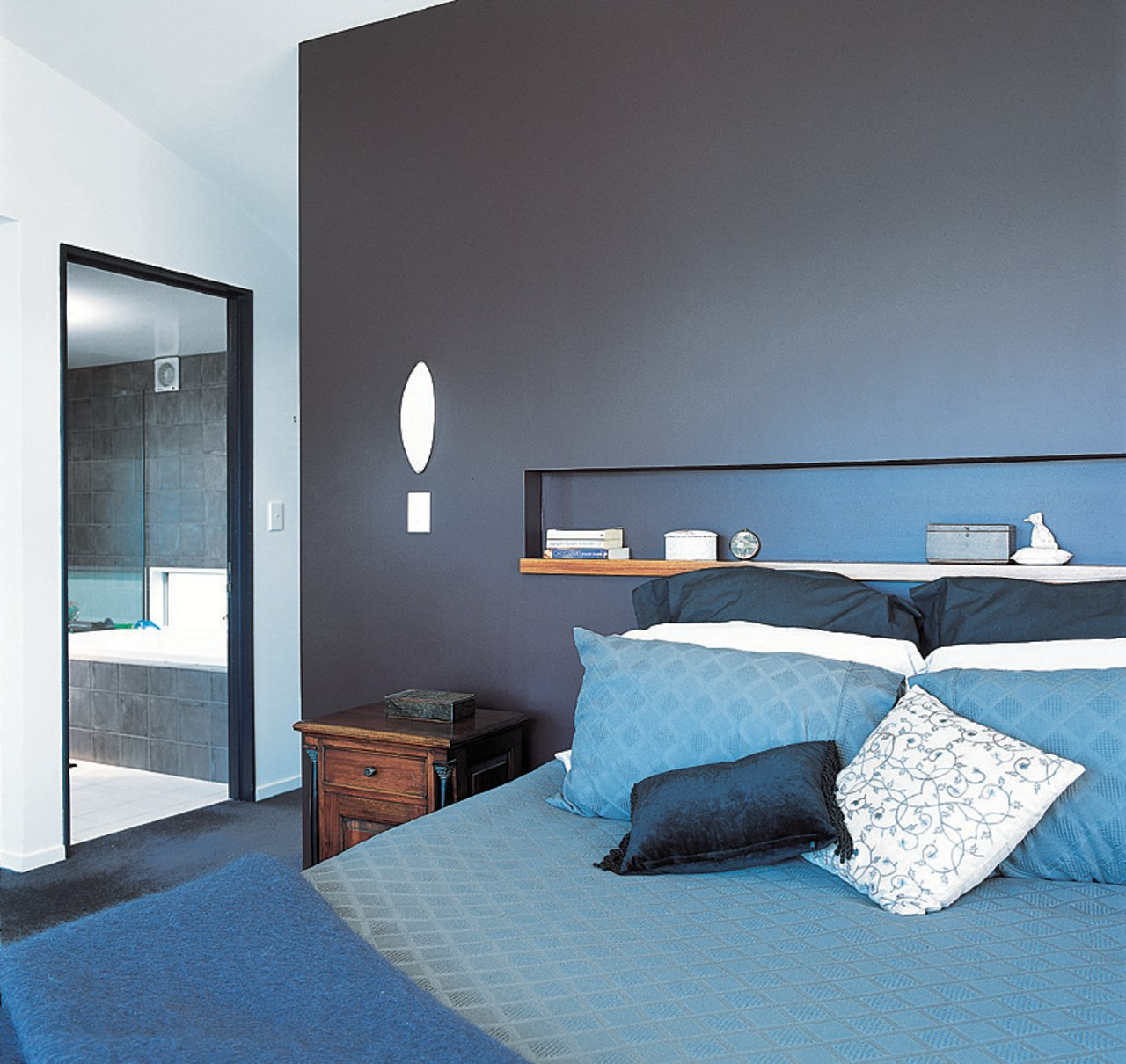 The view of a colourful bedroom architecture, bed, bed frame, bedroom, blue, daylighting, home, house, interior design, room, suite, wall, window, teal