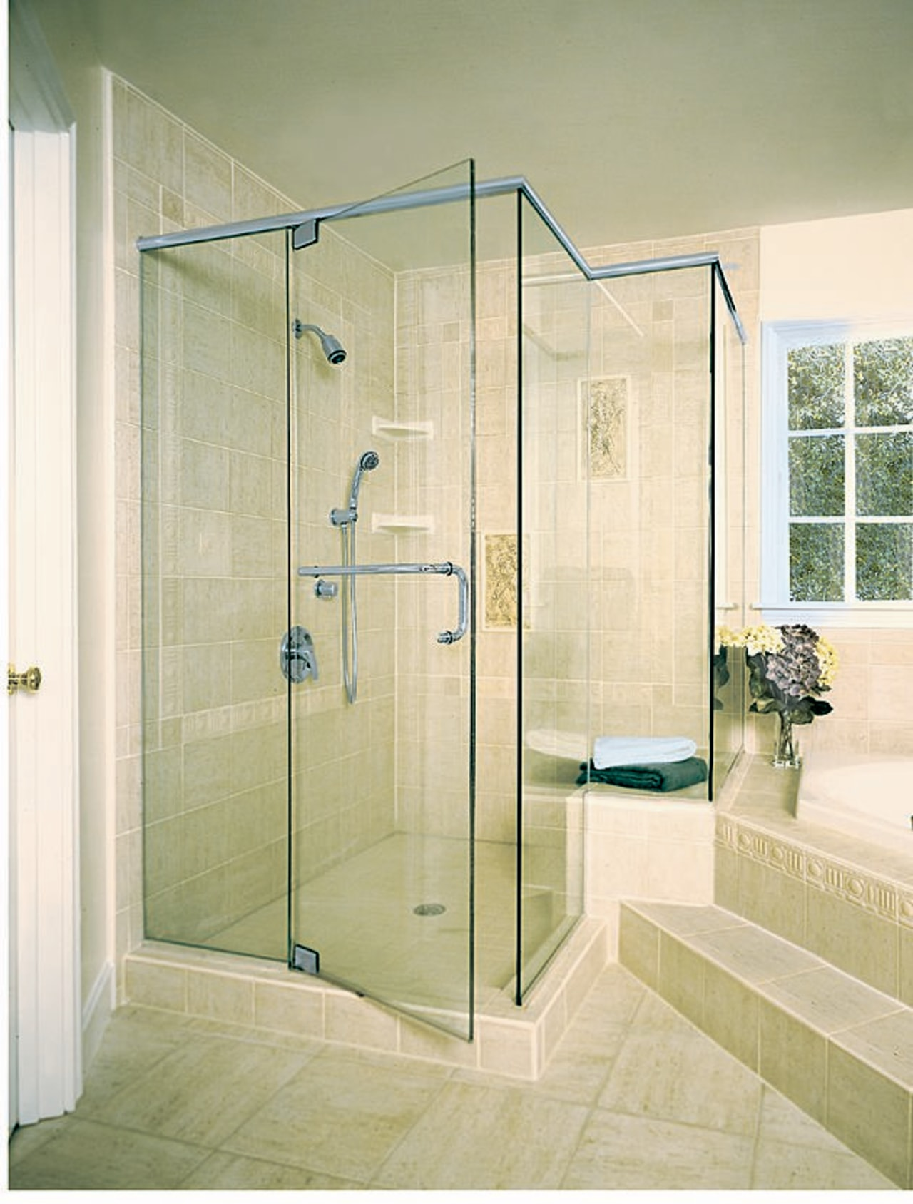 The bathroom shower angle, bathroom, door, glass, plumbing fixture, shower, shower door, yellow, green