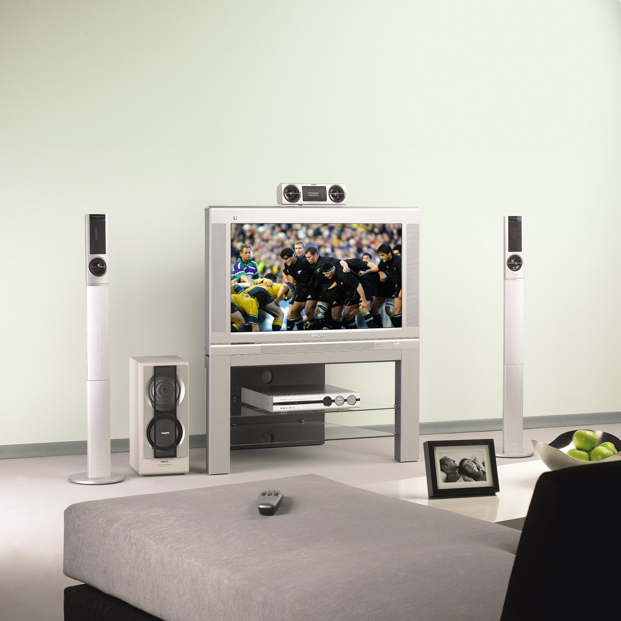 View of the home theatre system furniture, interior design, multimedia, product, product design, white, gray