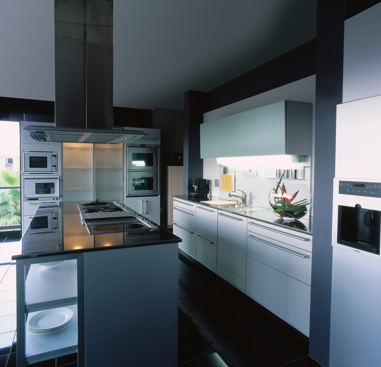 View of this contemporary kitchen countertop, cuisine classique, home appliance, interior design, kitchen, kitchen appliance, black, gray