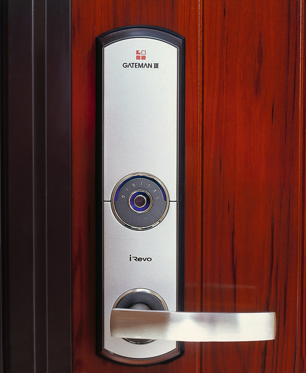 A close look at the digital lock & hardware, lock, product, product design, red, black