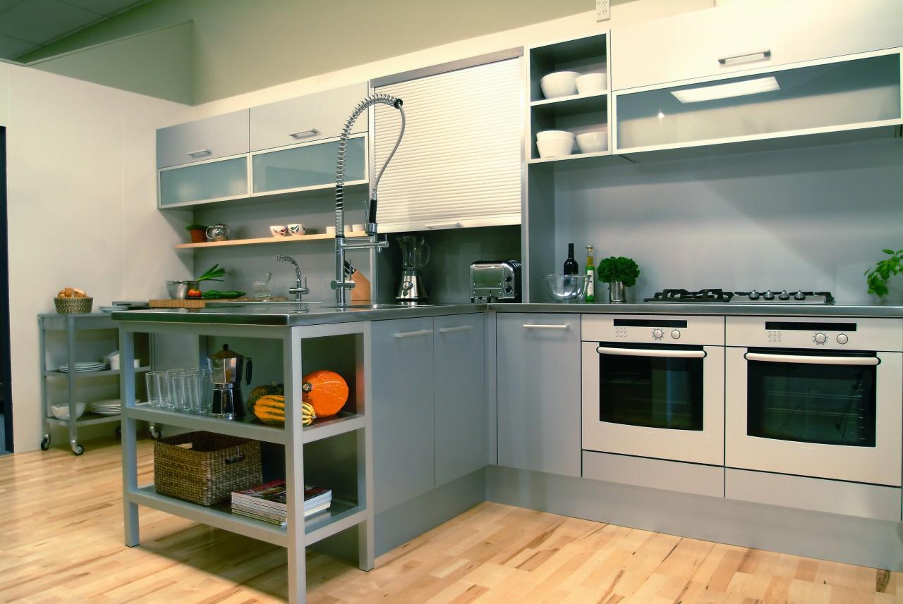 A semi-industrial looking kitchen featuring the latest Bosch countertop, home appliance, interior design, kitchen, orange, gray