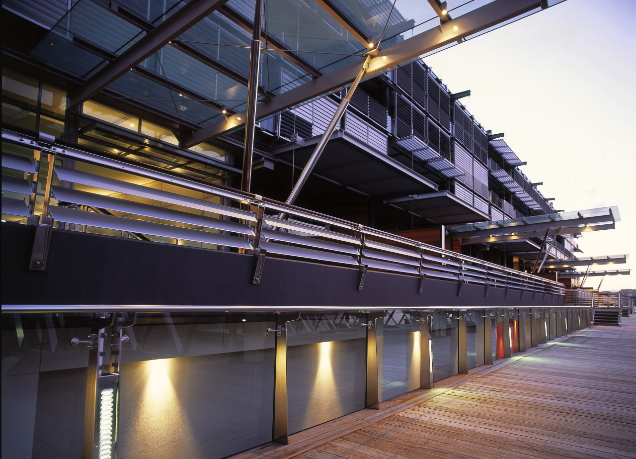 view of exteior showing aluminium louvres architecture, building, steel, structure, black, purple