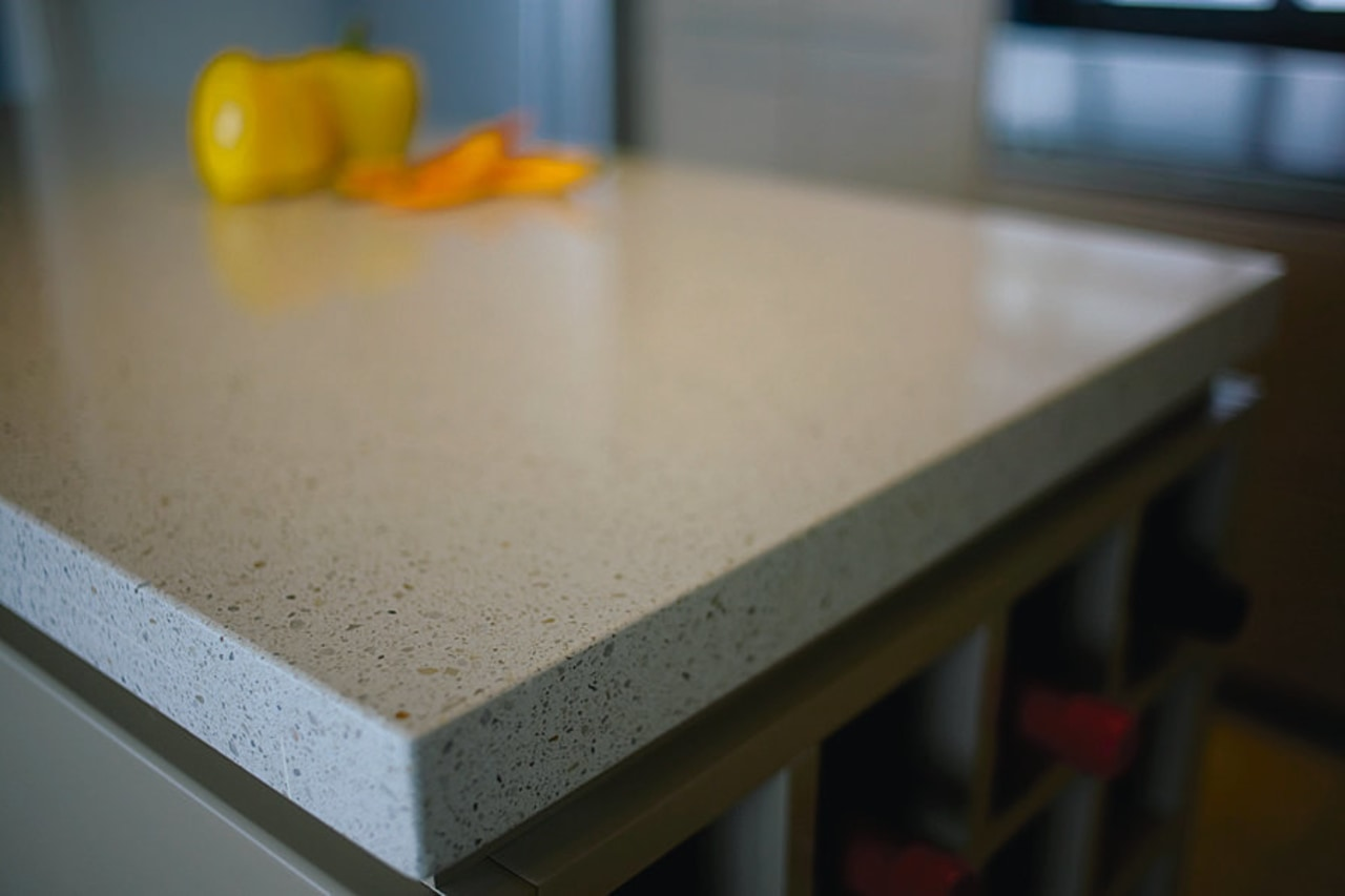 View of the edge of the countertop countertop, floor, material, table, gray, black
