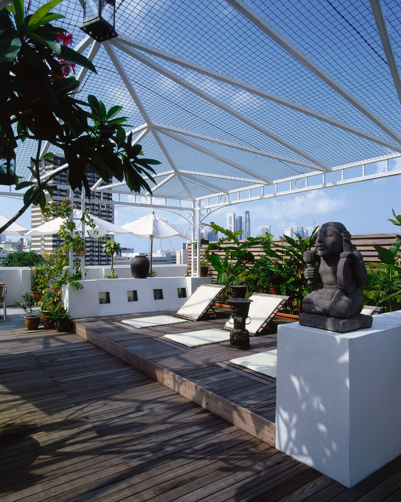 View of the roof-top timber deck architecture, arecales, greenhouse, house, outdoor structure, palm tree, plant, real estate, roof, tree, walkway, black, teal