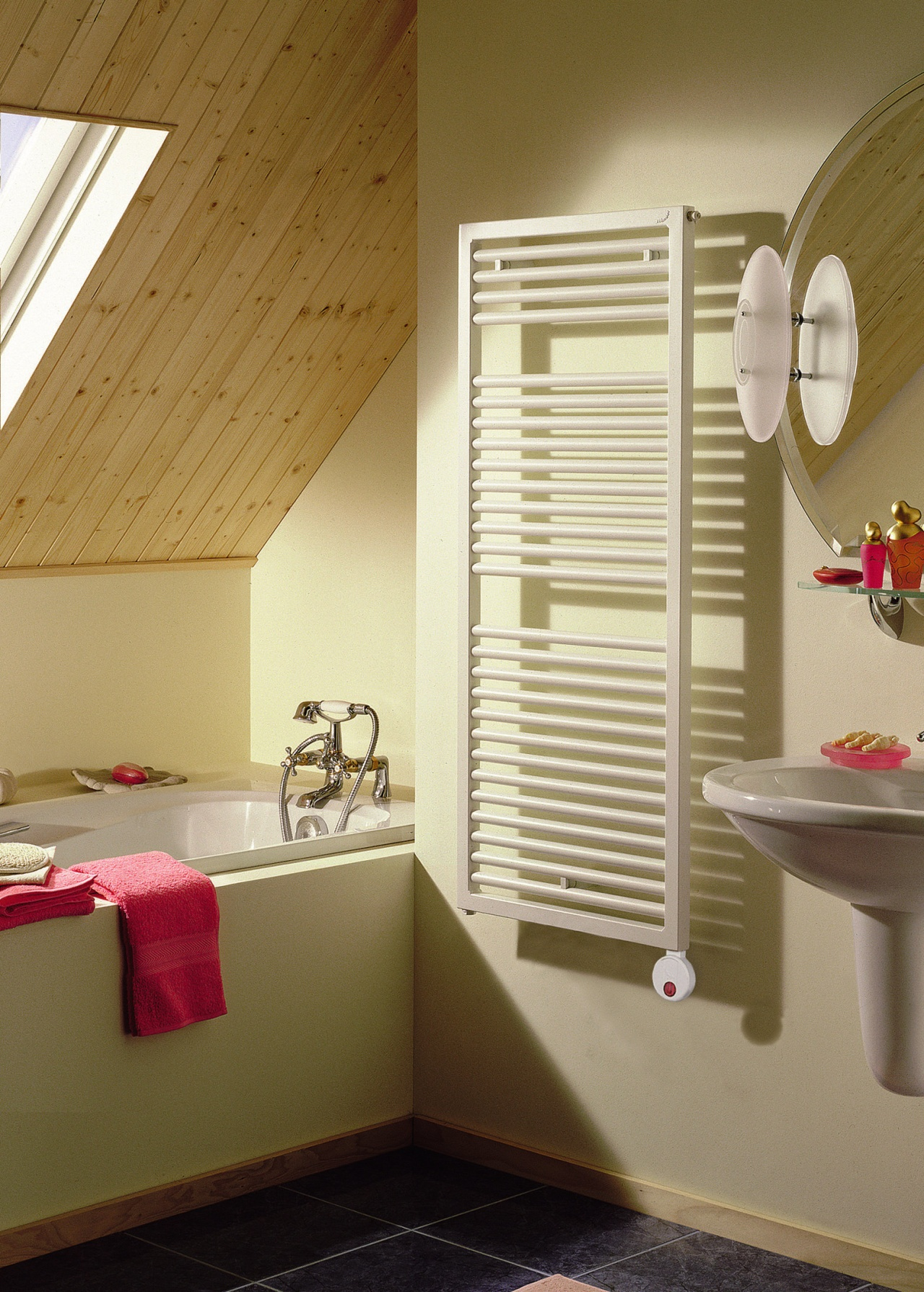 View of the towel radiator from Zehnder America architecture, bathroom, ceiling, daylighting, floor, home, house, interior design, room, wall, window, wood, brown