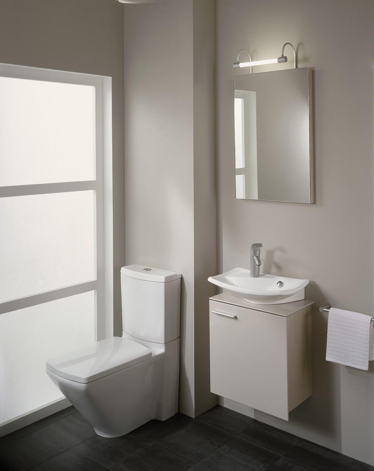 View of this modern bathroom bathroom, bathroom accessory, bathroom cabinet, bathroom sink, bidet, ceramic, floor, interior design, plumbing fixture, product design, room, sink, tap, toilet, toilet seat, gray, white