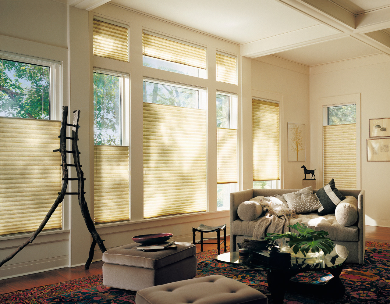 Honeycomb blinds retained more than 60 percent ceiling, daylighting, floor, home, interior design, living room, room, shade, wall, window, window blind, window covering, window treatment, wood