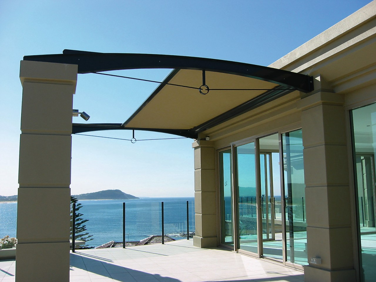 exterior view of patio and sunscreen daylighting, outdoor structure, roof, shade, structure, window, teal