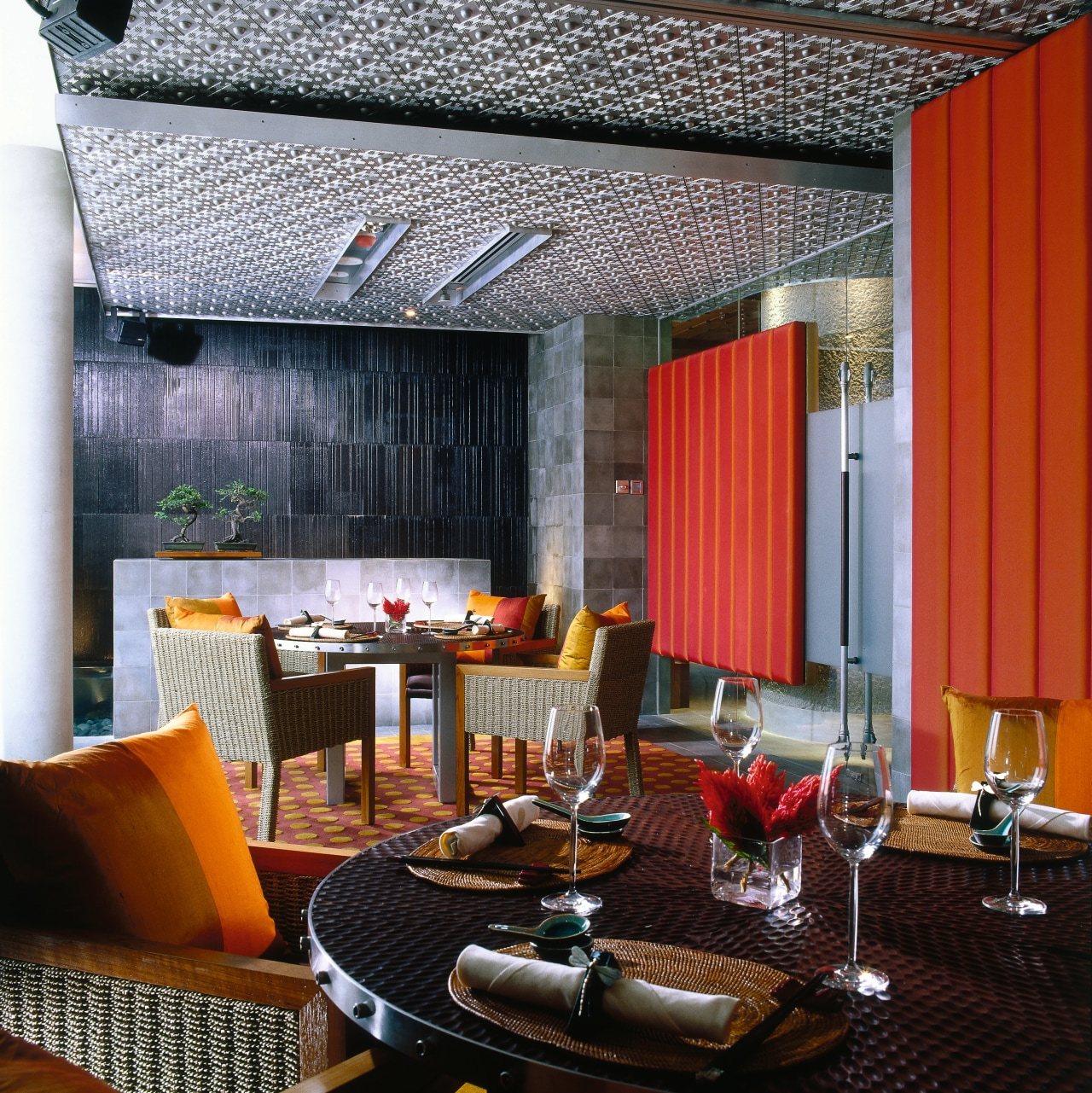 Restaurant dining area with metal ceiling panels, round architecture, ceiling, dining room, furniture, home, interior design, living room, restaurant, room, table, window, black, gray