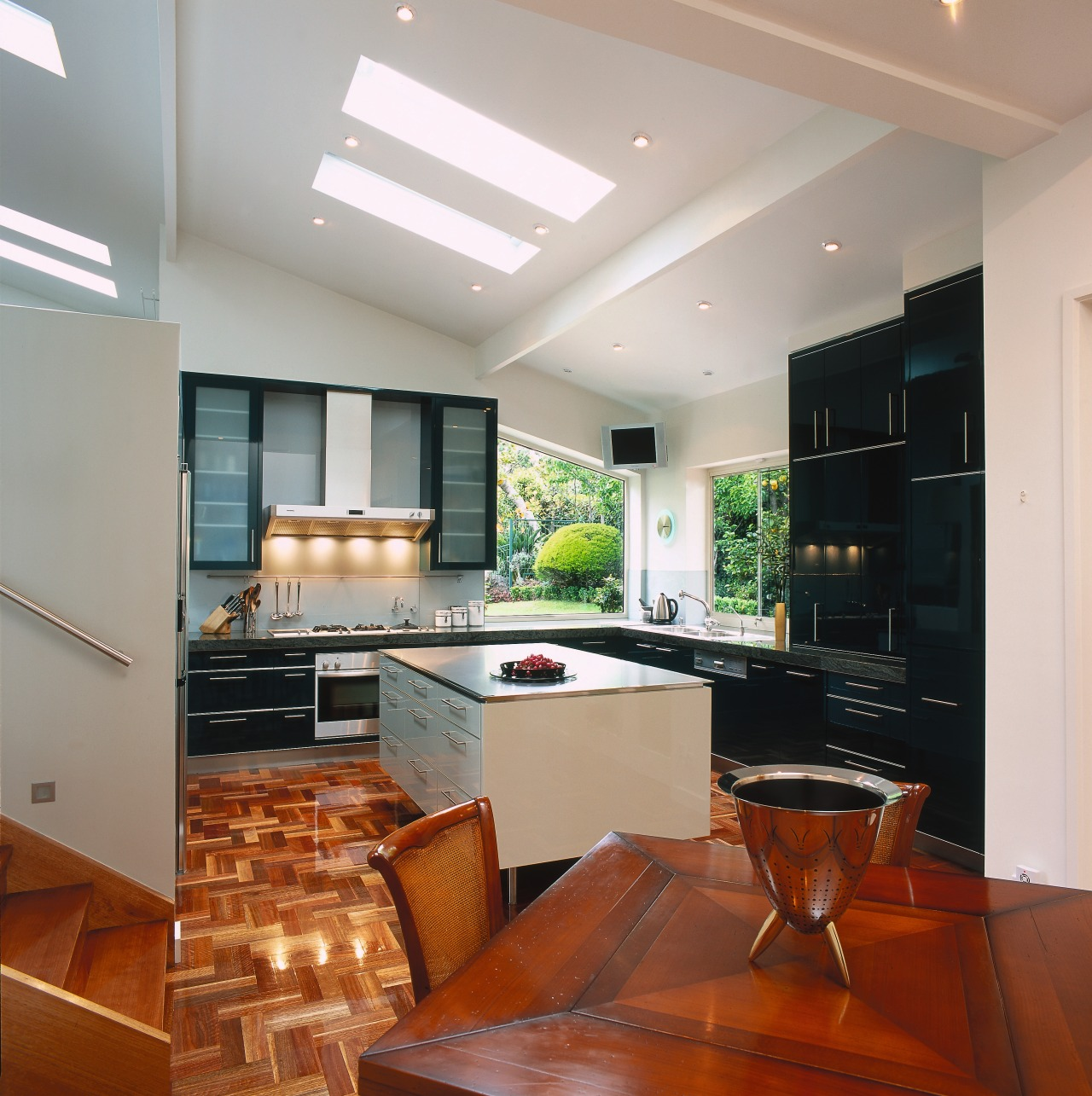 view of the kitchen an dining area cabinetry, ceiling, countertop, interior design, kitchen, real estate, room, under cabinet lighting, gray