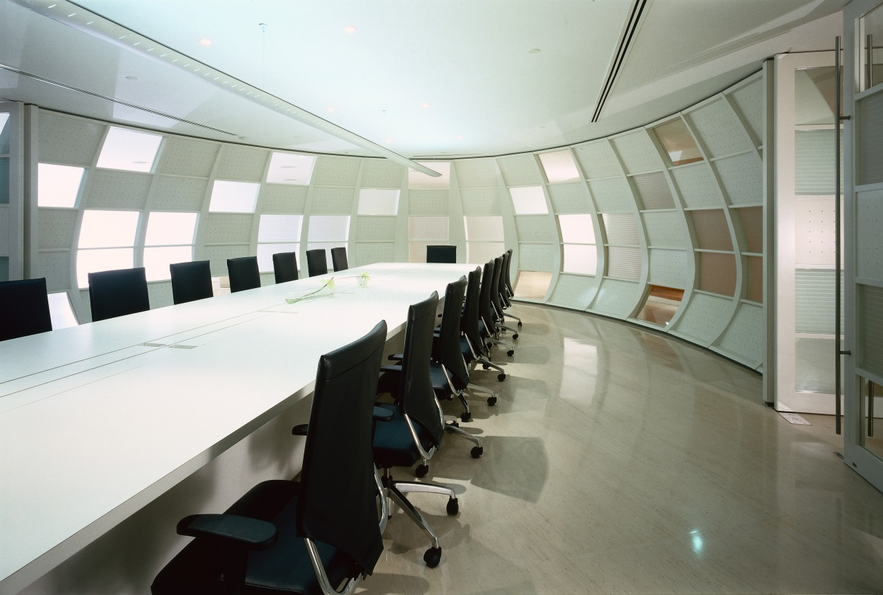 View of the meeting room, marble and limestone architecture, ceiling, conference hall, interior design, office, product design, gray, white