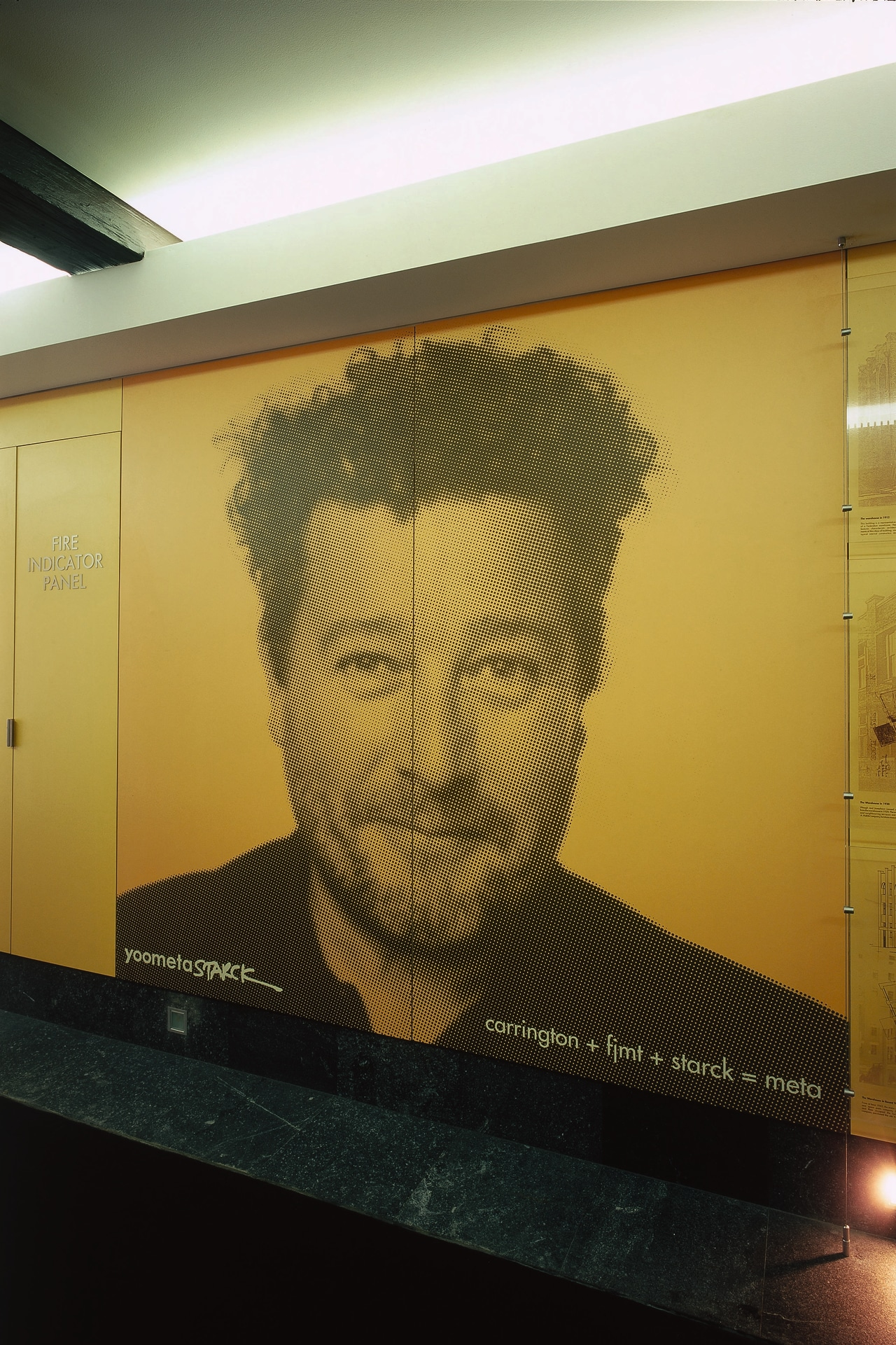 view of the fusion laminate wall surface art, design, facial hair, snapshot, wall, yellow, brown, orange