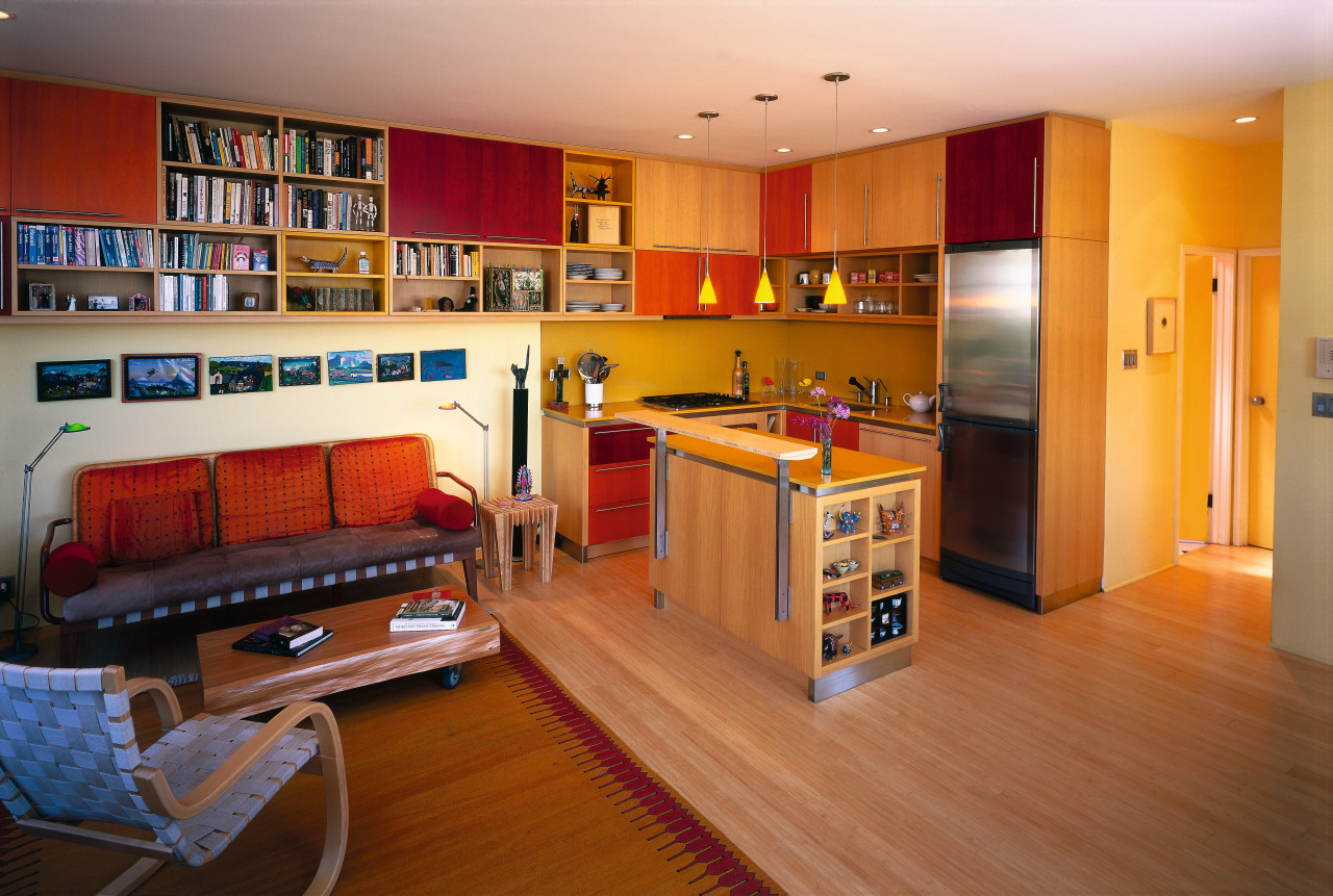 A view of the kitchen and living area, floor, flooring, hardwood, home, interior design, living room, room, wood, brown, orange